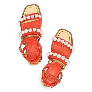 Tory Burch Sinclair seashell sandals 🐚